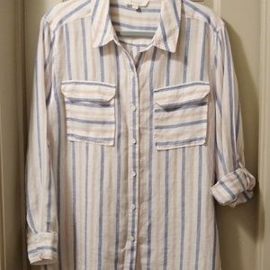 TWO BY VINCE CAMUTO linen striped shirt, Large